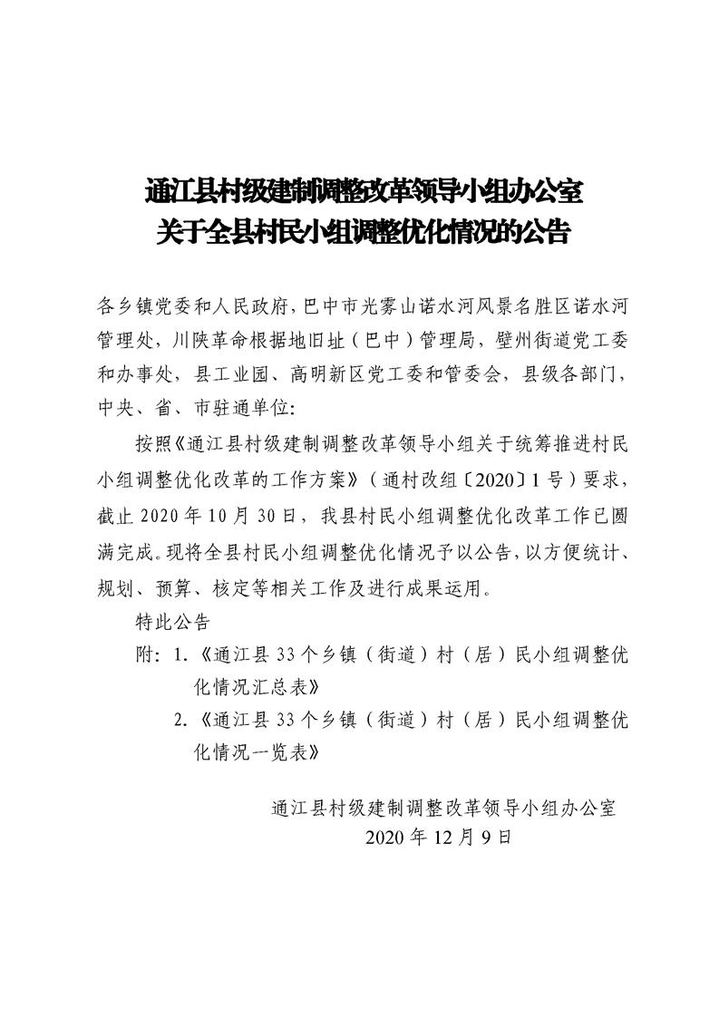 通江县村级建制调整改革领导小组办公室关于通江县村民小组调整优化情况的公告